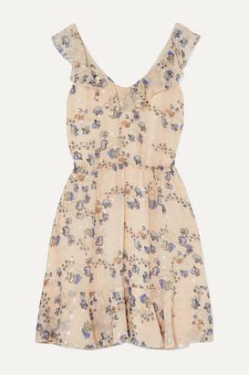 Chloé Ruffled Metallic Floral-print Silk-jacquard Mini Dress