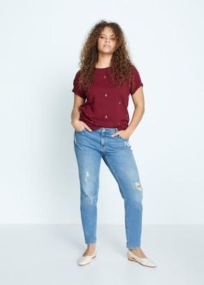 MANGO Violeta BY Rhinestone T-shirt maroon - S - Plus sizes