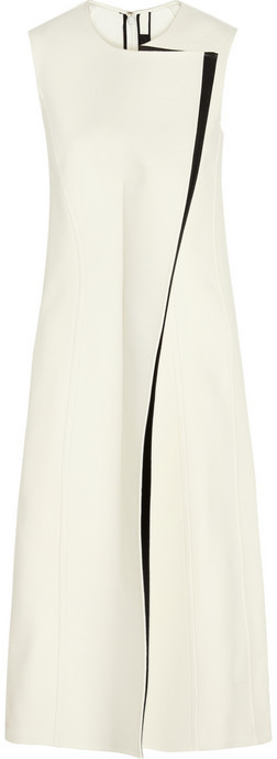 Calvin Klein Collection Rosedale crepe and faux leather dress