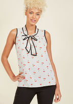 T346-01 A bold brunch look, an upbeat office outfit, sassy going-out garb - this white tank top is awesome for all occasions! Made marvelous with black pindots, a red cherry print, a tied scoop neckline, and black statement piping, this ModCloth-exclusive blouse