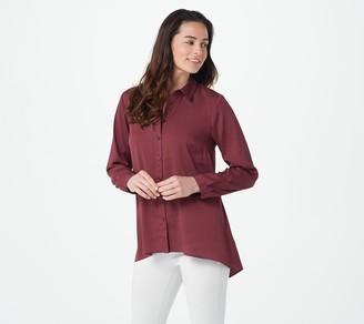 Joan Rivers Classics Collection Joan Rivers Hi-Low Hem Flowy Shirt with Back Inverted Pleat