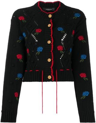 Versace Embroidered Round Neck Cardigan