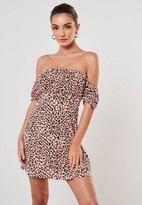 Missguided Pink Leopard Bardot Puff Sleeve Skater Dress