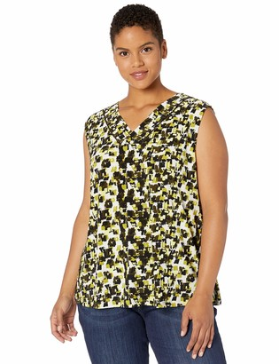 Kasper Women's Petite Sleeveless V-Neck City Blocks Print Knit TOP