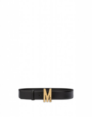 Moschino Belt With Gold M Buckle Woman Black Size 38 It - (4 Us)