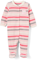 Buster Brown Orchid Pink & Whisper White Stripe Kitty Footie - Infant