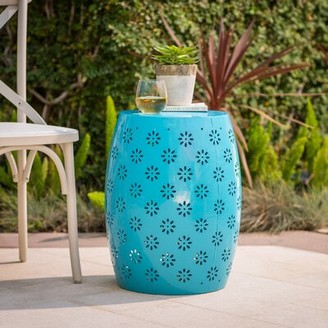 Pastrana Metal Side Table Wrought Studio Color: Blue
