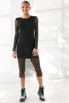 Silence & Noise Silence + Noise Long-Sleeve Fishnet Midi Dress