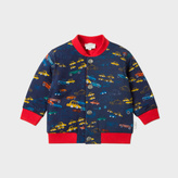 Paul Smith Baby Boys' Reversible Car Print Cotton-Jersey Bomber Jacket