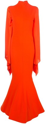 SOLACE London bishop-sleeved high-neck gown