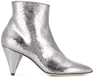 Polly Plume Metallic Cone-Heel Boots