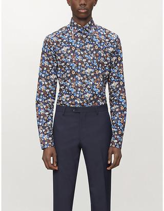 Eton Floral-print slim-fit cotton shirt