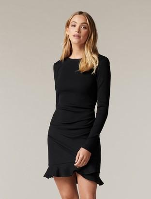 Forever New Annie Rib Long Sleeve Frill Dress - Black - 10