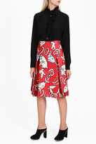 Paul & Joe Cat Satin Midi Skirt