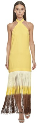 Taller Marmo Acetate Dress W/ Multicolor Fringes