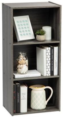 IRIS USA 3-Tier Open Wood Bookcase Storage Shelf, Gray