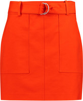 Michael Kors Belted cotton-broadcloth mini skirt