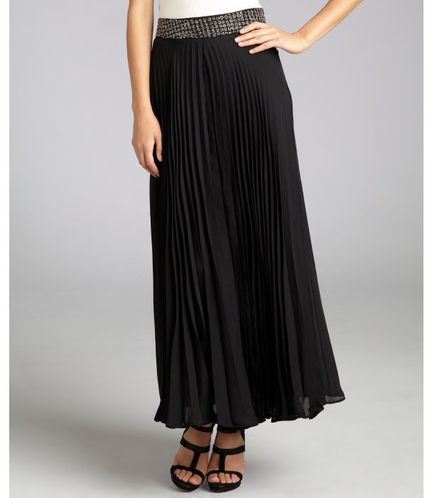 Parker black pleated chiffon beaded belt maxi skirt