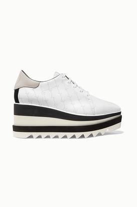 Stella McCartney Elyse Logo-perforated Faux Leather And Suede Platform Brogues - White