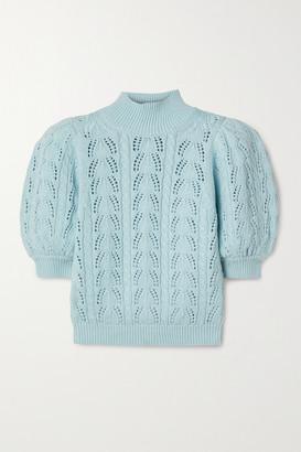 Alice + Olivia Kyoko Pointelle-knit Wool-blend Turtleneck Sweater - Light blue