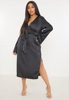Missguided Plus Size Black Satin Split Front Wrap Midi Dress