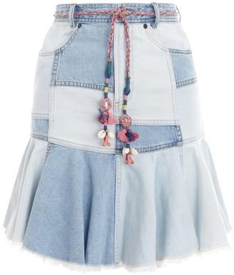 Zimmermann Edie Patchwork Denim Skirt