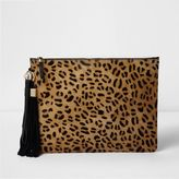 River Island Womens Beige leopard print leather clutch bag