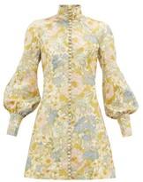Zimmermann Super Eight Balloon-sleeve Brocade Mini Dress - Womens - Blue Print