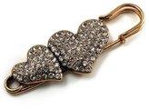 Avalaya Vintage Swarovski Crystal Heart Pin Brooch (Antique )