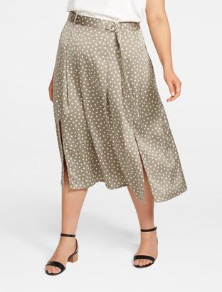 Forever New Natasha Curve Split-Front Pleat Midi Skirt - SWEET CLOVER SPOT PRINT - 16