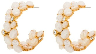 Kenneth Jay Lane Cabochon opal hoop earrings