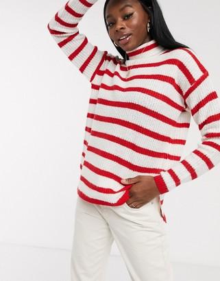 Brave Soul monty roll neck fisherman knit jumper in red stripe-White
