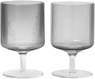 ferm LIVING Set Of 2 Ripple Mouth Blown Wine Glasses
