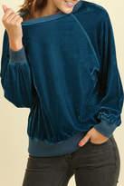 Umgee USA Teal Velvet Sweatshirt