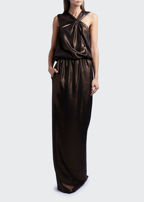 Tom Ford Sleeveless Cutout Laminated Jersey Gown