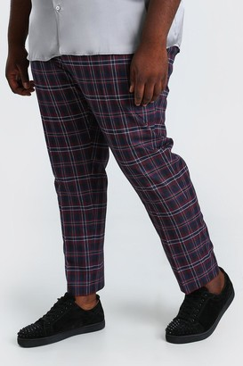 boohoo Mens Purple Plus Size Slim Cropped Trouser With Chain, Purple