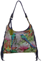 Anuschka Women's Hand Painted Leather Fringe Shoulder Hobo Bag