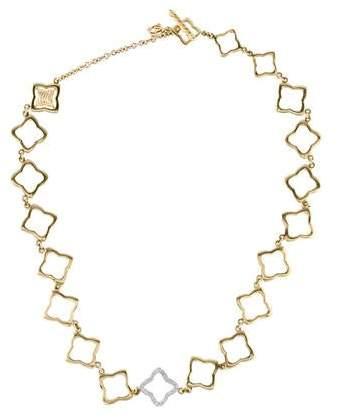 David Yurman 18K Diamond Quatrefoil Link Necklace