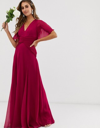 Asos Design DESIGN Bridesmaid flutter sleeve maxi dress with pleated waist-Red
