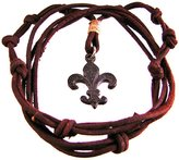 Zeckos Brown Leather Adjustable Length Fleur De Lis Necklace