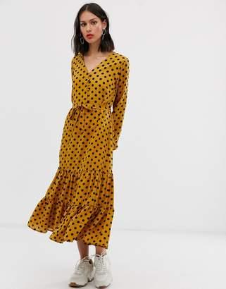 Only polka dot shirt dress-Yellow