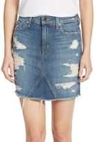 Genetic Los Angeles Gordon Distressed Denim Mini Skirt