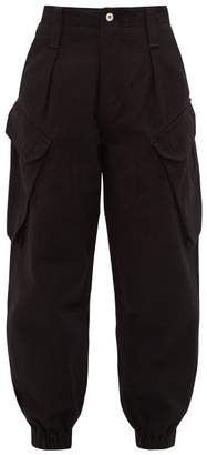 Marques Almeida Marques'almeida - High-rise Cropped Denim Cargo Trousers - Womens - Black