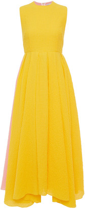 Emilia Wickstead Joah Pleated Two-tone Cotton-blend Cloque Midi Dress