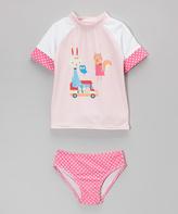 Floatimini Pink Bunny Rashguard Set - Girls