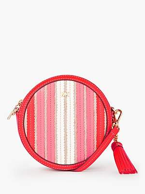 Michael Kors MICHAEL Canteen Leather Woven Cross Body Bag, Bright Ruby