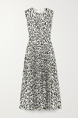 Jason Wu Collection Pleated Leopard-print Stretch-crepe Midi Dress - White