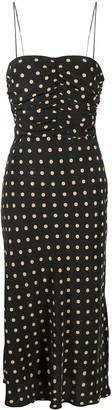 Bec & Bridge Ruched Polk-Dot Midi Dress