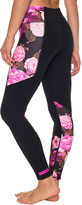 Betsey Johnson Black & Fuchsia Floral Leggings