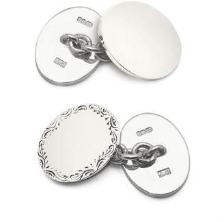 Aspinal of London Sterling Silver Double Oval Engraved Cufflinks